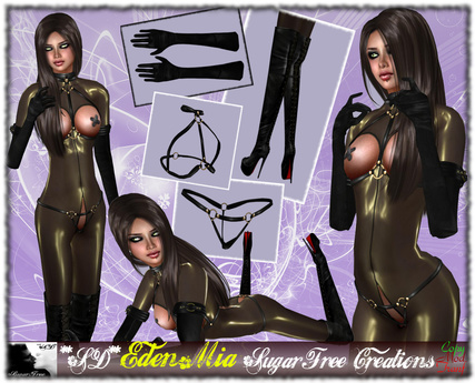 **SD** - Eden Mia - ( Mesh Outfit )  - Black/Gold 1.1