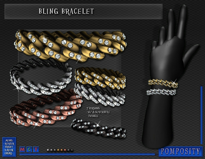 POMPOSITY - Bling Bracelets w/ Diamonds - BOXED