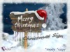 Susu merry christmas sign with santa claus hat