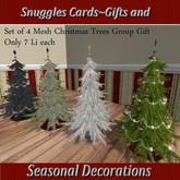 Set of 4 Mesh Christmas Trees Group Gift Snuggles