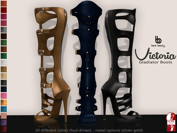 Bens Boutique - Victoria Gladiator Boots (Allcolors - with texture changer hud) Slink High