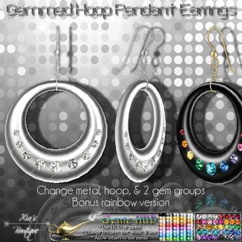 Gemmed Hoop Pendant Earrings