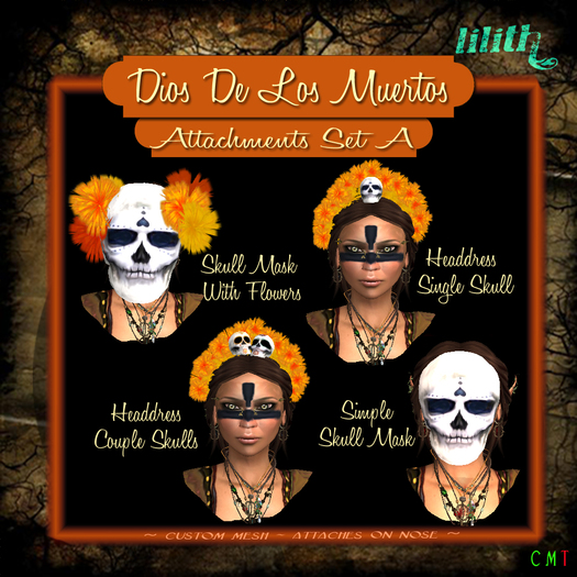 Dia de Muertos Day of the Dead Wall Deco Wearable Masquerade ball flower mask
