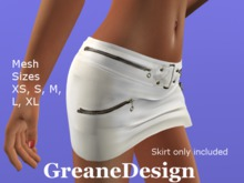 GreaneDesign - Mini Leather Skirt with zips - White
