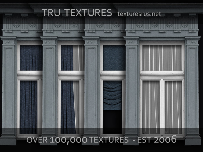 11500: July 09 - 18 x Exterior Framed Victorian Window Textures With Drapes & Blinds - 1024 x 1024 Pixels