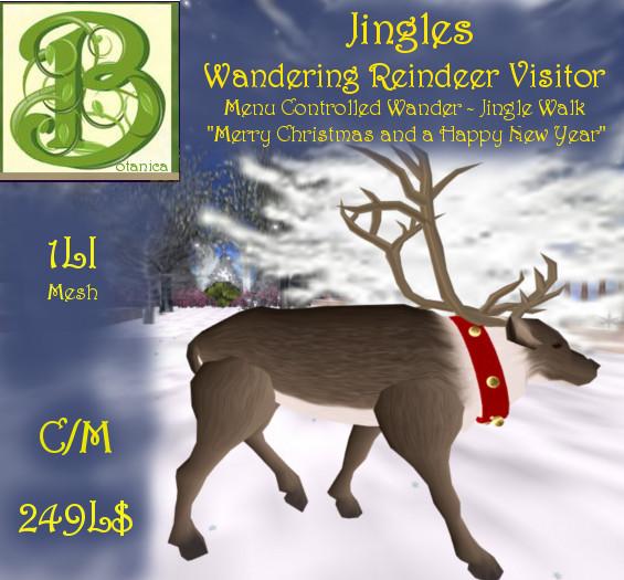 Jingles, Wandering Reindeer Menu Controlled Visitor, Mesh ,1LI