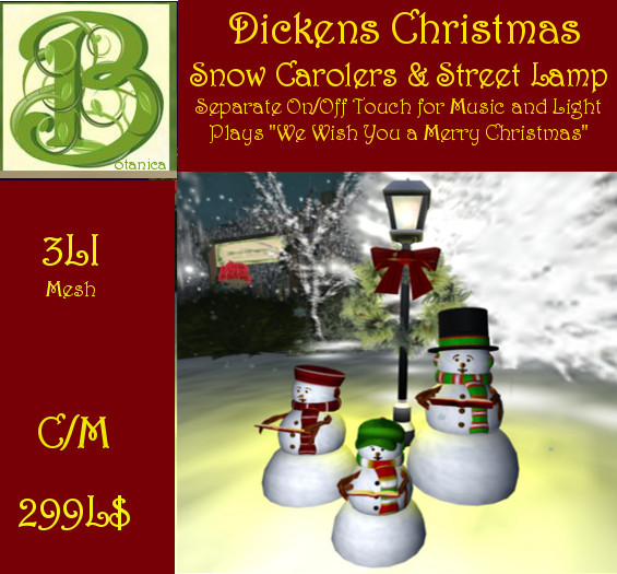 "Dickens Christmas Lamp with Snow Carrolers Singing ""We Wish You a Merry Christmas"", Mesh, 3LI"