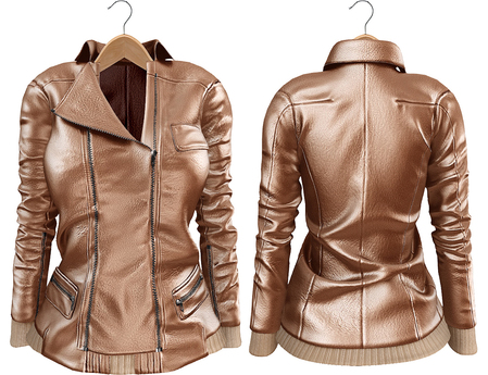 Blueberry Mins - Leather Zipped Jackets (Belleza Venus Compatible) Beige