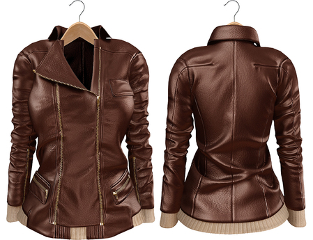 Blueberry Mins - Leather Zipped Jackets (Belleza Venus Compatible) Brown