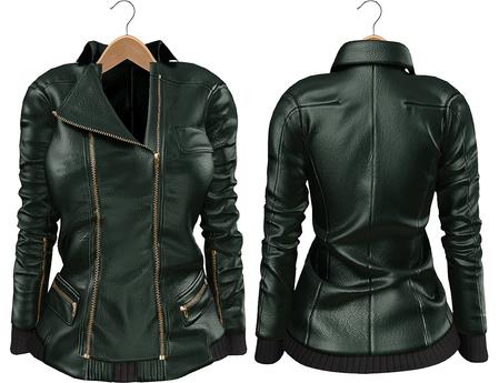 Blueberry Mins - Leather Zipped Jackets (Belleza Venus Compatible) Green