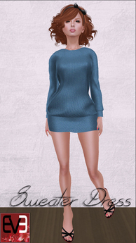 Blue Knit Sweater Dress for Eve Mesh Body (slim & pulpy)