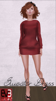 Red Knit Sweater Dress for Eve Mesh Body (slim & pulpy)