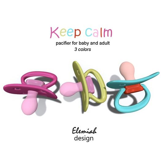 Elemiah Design - Keep calm pacifier