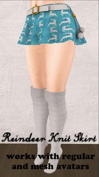 Blue Reindeer Skirt for Regular and Mesh Avatars