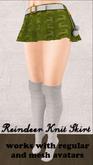 Green Reindeer Skirt for Regular and Mesh Avatars