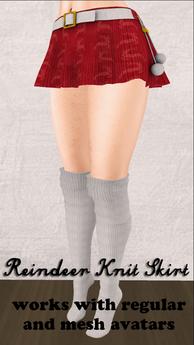 Red Reindeer Skirt for Regular and Mesh Avatars
