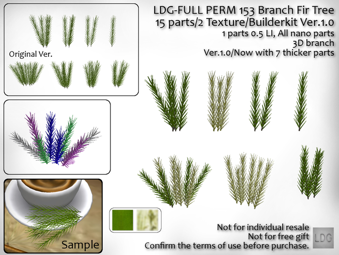 LDG-FULL PERM 153 Branch Fir Tree/8 parts/1 Texture/Builderkit