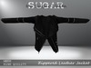 SUGAR - Zippered Leather Jacket - BLACK