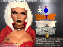 NC : M018_Full Perm Lace Chocker and Bell