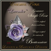 Boutonniere (Buttonhole) Groomsmen - Gossamer Lavender Single Rose Wedding Flowers