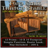 TWO STALL THATCH STABLE - From Castle Clan - Mesh Castles & Cottages