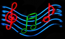 Neon (Flashing) Music Notes Sign