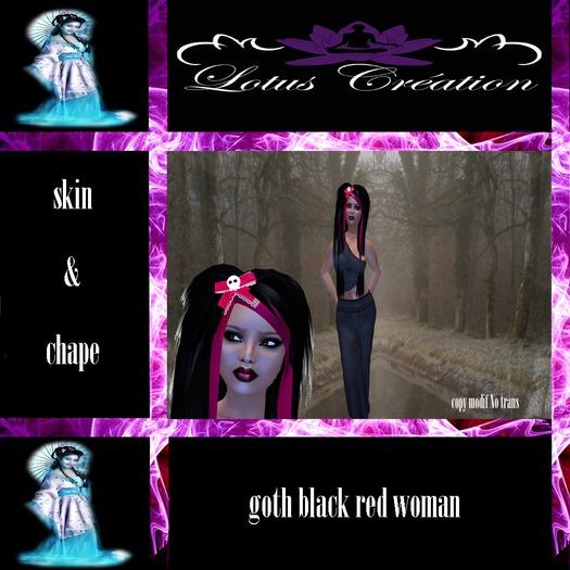 skin shape goth black red woman