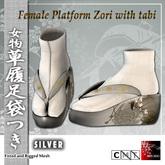 ~Ss~Female Platform Zori with Tabi - silver