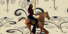 Mesh Carousel Horse with sit and wave animation