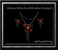 Cele'Sations ~ Mistletoe, Bells & Bow Necklace & Earring Set