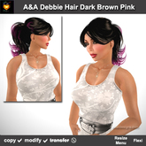 A&A Debbie Hair Dark Brown-Pink (Special Color). Classic ponytail style for women. Promo Color!