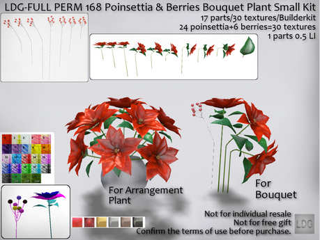 LDG-FULL PERM 168 Poinsettia & Berries Bouquet Plant Small Kit/17 parts/30 textures/Builderkit