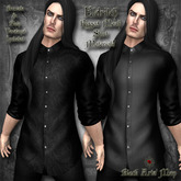 ~Black Arts Men~Eldritch Mesh Button Down Shirt Black/Brocade