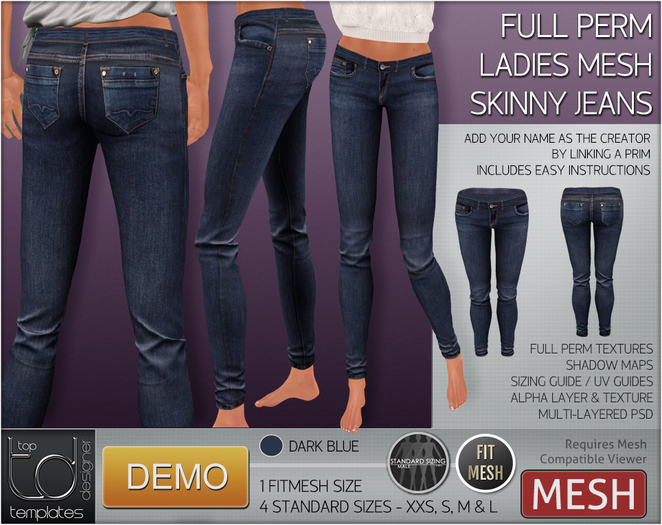 TD TEMPLATES - MESH Ladies Skinny Jeans DEMO