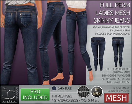 TD TEMPLATES - MESH Ladies Skinny Jeans  *FULL PERMS*