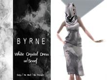 (BYRNE)Crystal White Mesh Dress & Scarf