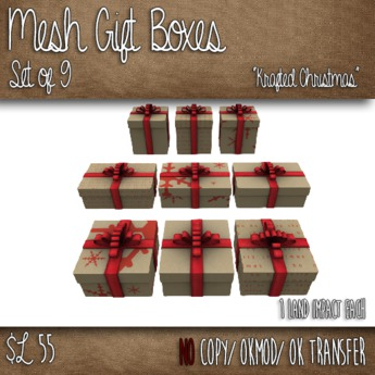 Mesh Christmas Gift Boxes - Set of 9 Gift Boxes - Krafted Christmas