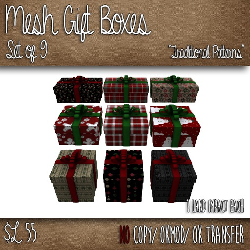 Mesh Christmas Gift Boxes - Set of 9 Gift Boxes - Traditional Patterns