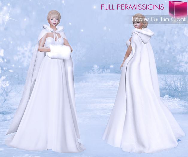 %50SUMMERSALE FULL PERM MI Rigged Mesh Ladies Fur Trim Cloak