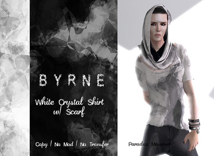 (BYRNE)Crystal White Men's Mesh Deep Neck Shirt & Scarf(BOXED)