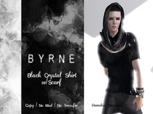 (BYRNE)Crystal Black Men's Mesh Deep Neck Shirt & Scarf(BOXED)