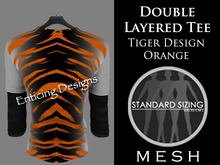 *ED Mens Mesh Double Layered Style Tee Shirt with Tiger Stripe Design in Orange and Black and Black 3 Quarter Sleeves