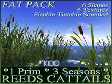 50 KIDD REED CATTAIL* 6 Mixed Shapes * 6 Seasonal Textures * Scalable * Tintable * Low Prim