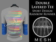 *ED Mens Mesh Double Layered Style Tee Shirt: Grey with Sporty Running Design and Matching Blue 3 Quarter Length Sleeves