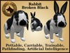 VKC® Rabbit Broken Black Artificially Intelligent (AI) Trainable Pet-No Food Required -Virtual Kennel Club- Pathfinding