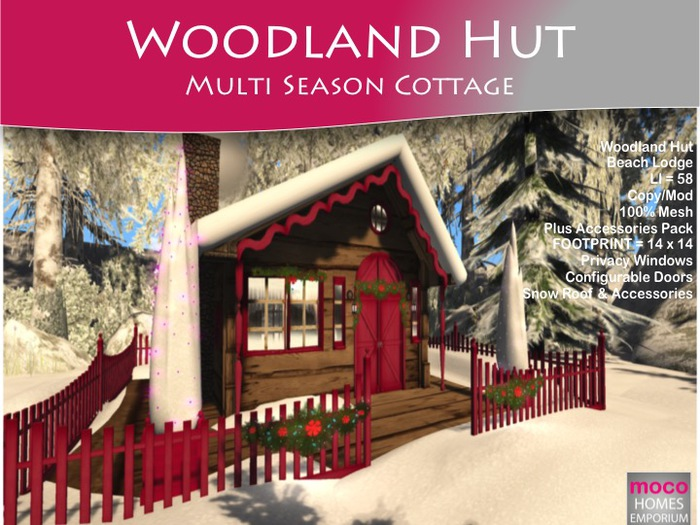 Moco Emporium -  Woodland Hut Multi Season Christmas Cottage  Winter to Summer Cabin * LI= 48