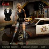 Corset Black -  Fashion mesh - Gift -