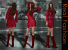 REAL FASHION Lace dress and boots RED