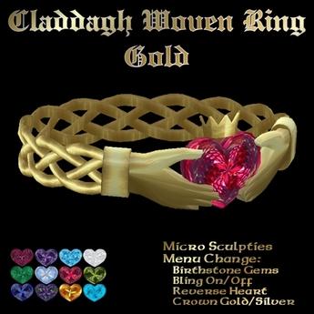 Ashira's Claddagh Woven Ring - Gold