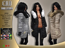 [C.H.D] Ruby Fur Padded Winter Coat with Mittens
